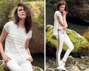 Miss Trend Reversible Printed Top with Side Stripe cotton stretch trousers